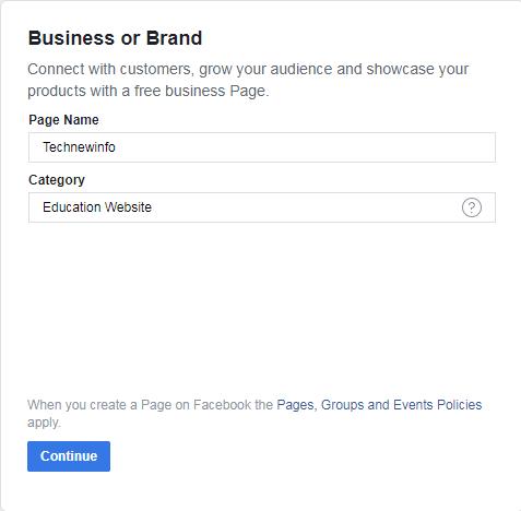 create a Facebook page