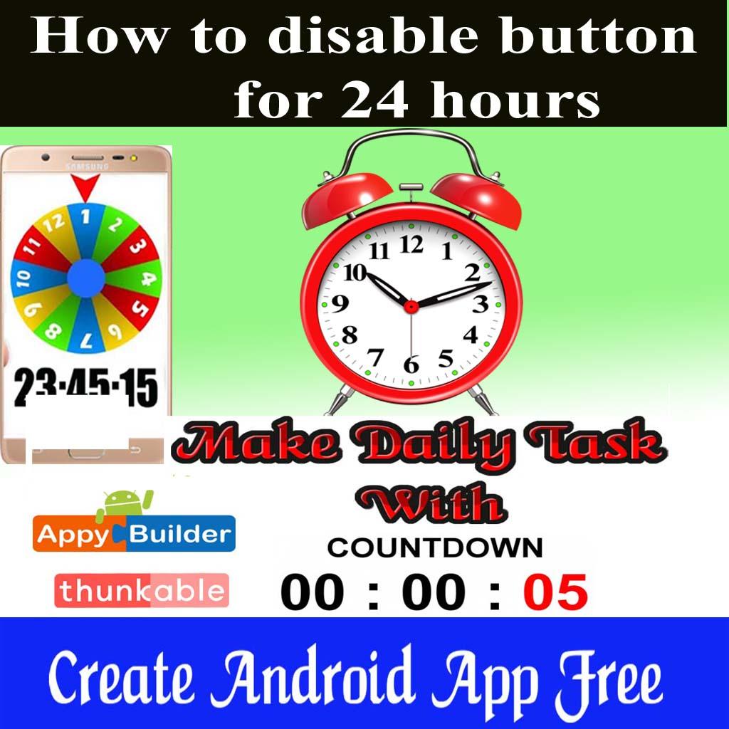 Create daily task with countdown in Thunkable | how to disable button for 24 hours